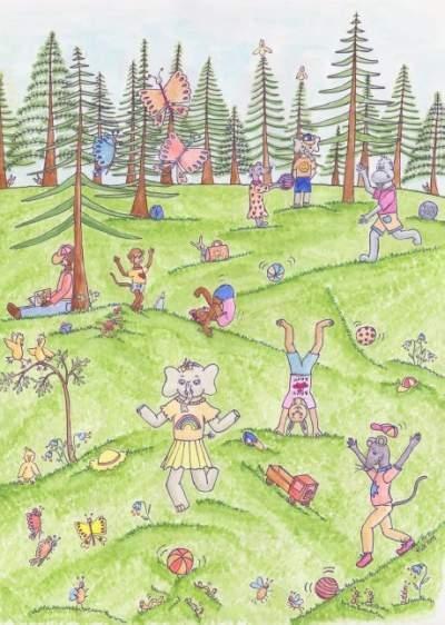 Eläinaiheinen postikortti