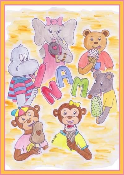 postikortti eläinhahmoilla
