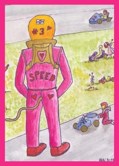 Karting-aiheinen postikortti