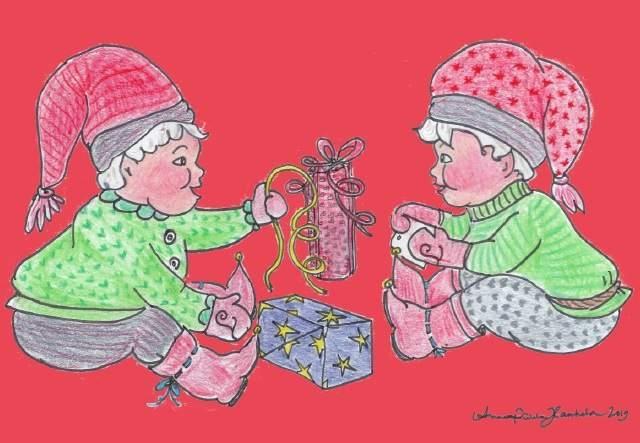 piirretty joulukortti
