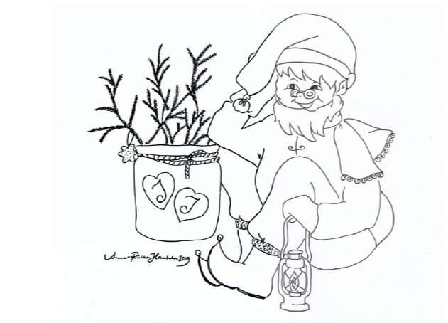 Väritettävä joulukortti